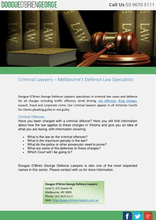 Criminal Lawyers – Melbourne's Defence Law Specialists