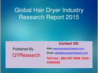 Global Hair Dryer Market 2015 Industry Analysis, Research, Share, Trends and Growth