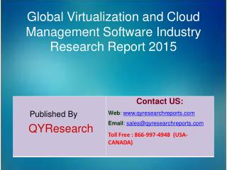Global Virtualization and Cloud Management Software Industry 2015 Market Shares, Forecasts, Analysis, Applications, Tren