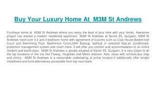 Buy Your Luxury Home At  M3M St Andrews