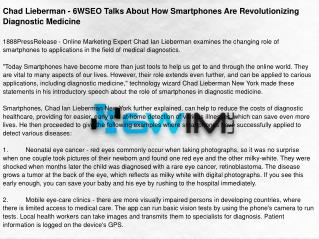 Chad Lieberman - 6WSEO Talks About How Smartphones Are Revolutionizing Diagnostic Medicine