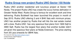 Rudra Group new project Rudra UNO Sector 150 Noida