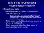 Nine Steps in Conducting Psychological Research