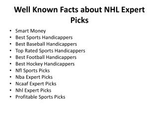 Well Known Facts about NHL Expert Picks
