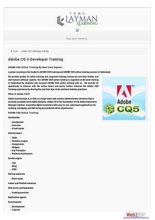 Adobe CQ 5 Developer |Training|Job Support| 91-741-626-7887