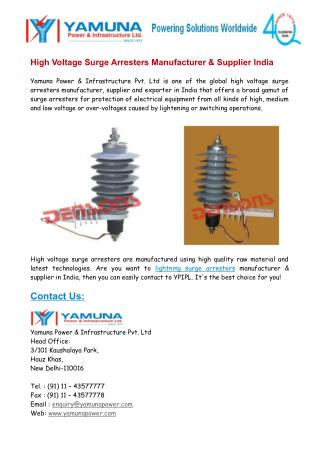 High Voltage Surge Arresters Manufacturer & Supplier India