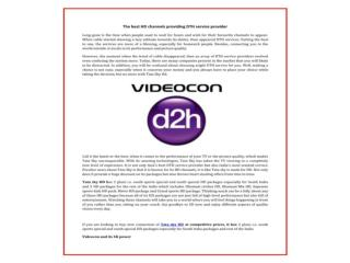 Get videocon d2h hd & tata sky hd packages & Plans