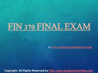 FIN 370 Final Exam 30 Questions With Answers.