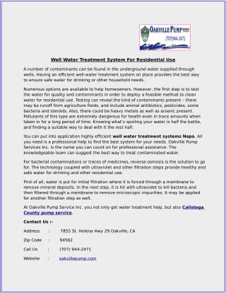 Well Water Treatment System For Residential Use