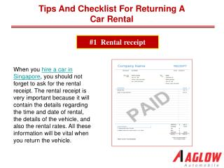 Tips and Checklist for Returning a Car Rental