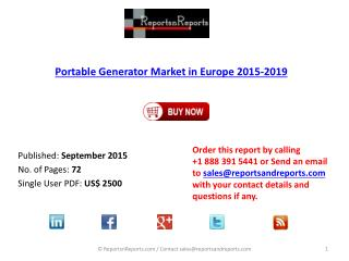 European Portable Generator Market Report 2015 – 2019 by Market Drivers and Challenges