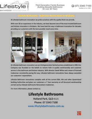 Lifestyle Bathrooms - Bathroom Renovations in Brisbane