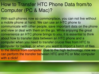 How to Transfer HTC Phone Data from to Computer (PC & Mac)