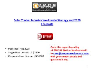 Global Solar Tracker Industry Analysis, Size, Growth, Trends and 2020 Forecasts