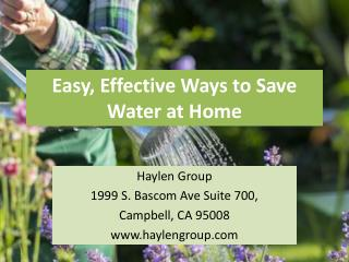 Easy & Effective Ways to Save Water at Home