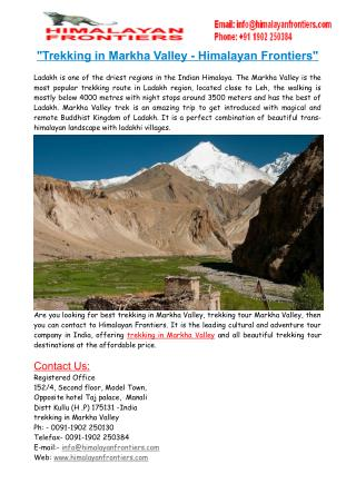 Trekking in Markha Valley & Trekking Tour Markha Valley