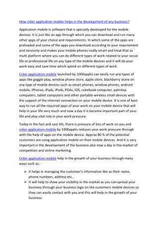 How créer application mobile helps in the development of any business?