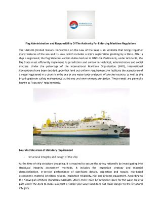 Flag Administration and Responsibility Of The Authority For Enforcing Maritime Regulations