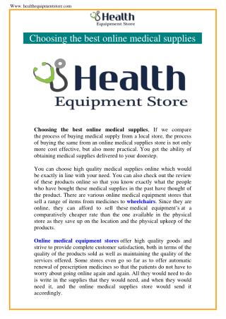 Online Medical Supply Stores