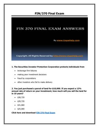 FIN 370 Final Exam New UOP Course Tutorial