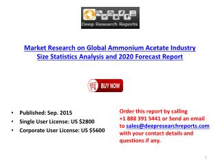 Global Ammonium Acetate Market Development Trend Analysis 2015-2020 Report