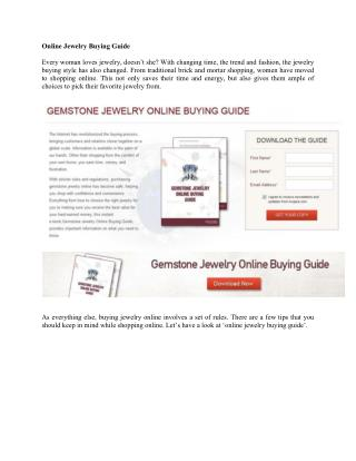 Online Jewelry Buying Guide