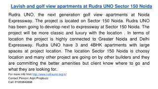Lavish and golf view apartments at Rudra UNO Sector 150 Noida