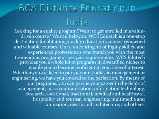 BCA Distance Education in India