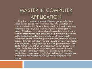 Master in Computer Application