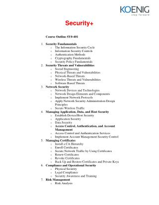 CompTIA Security  Certification Course Content from Koenig Solutions