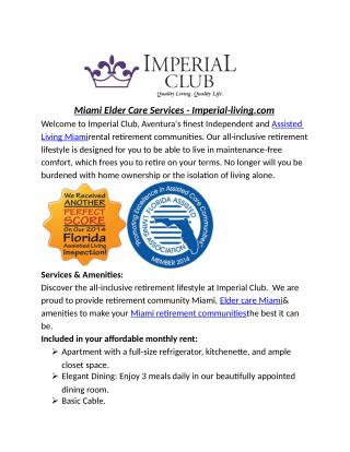 Miami Elder Care Services - Imperial-living.com