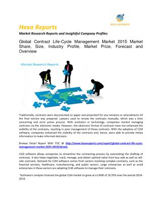 Contract life cycle management market global share, size, trends and Forecast 2015 - 2019