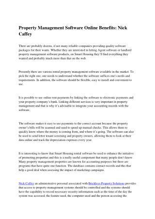 Property Management Software Online Benefits: Nick Caffey