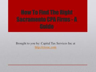 How To Find The Right Sacramento CPA Firms - A Guide
