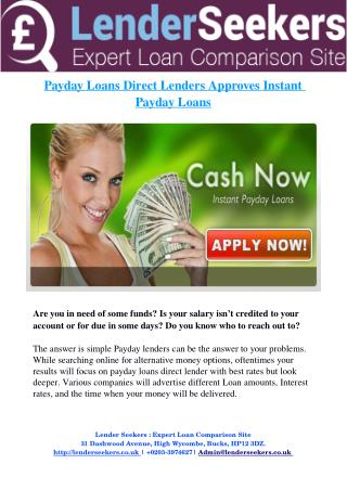 Payday Loans Direct Lenders Approves Instant Payday Loans