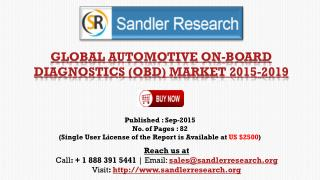 World Automotive On-Board Diagnostics (OBD) Market to Grow at 7.41% CAGR to 2019 Says a New Research Report