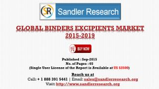 Global Binders Excipients Market Growth to 2019 Forecasts and Analysis Report