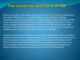 Five reasons to switch to an IP PBX