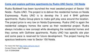 Come and explore golfview apartments by Rudra UNO Sector 150 Noida