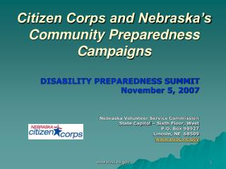 Citizen Corps and Nebraska s Community Preparedness Campaigns