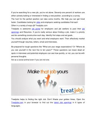 Job Interview Tips - Submit Your Resume @ Treatjobs.com
