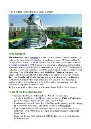 Why & Where To Invest In Real Estate Gurgaon