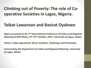Climbing out of Poverty: The role of Co-operative Societies in Lagos, Nigeria.