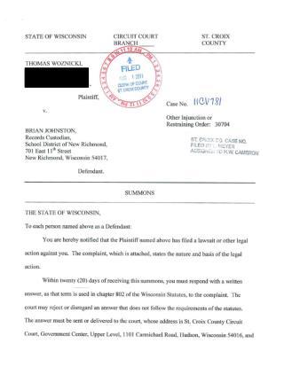 Thomas Woznicki vs. Brian Johnston (New Richmond, Wisconsin)