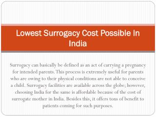 Lowest Surrogacy Cost Possible In India