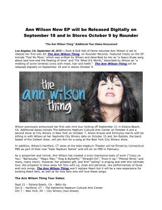 Ann Wilson New EP will be Released Digitally on September 18 and in Stores October 9 by Rounder