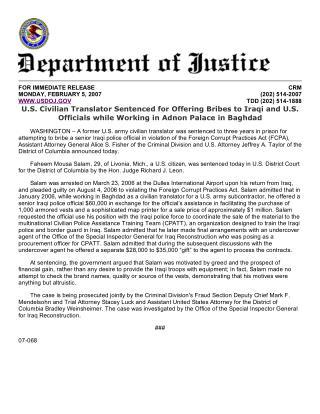 Blog 100 US Army Civilian Translator Faheem Salam Charged_Press Release Sentencing