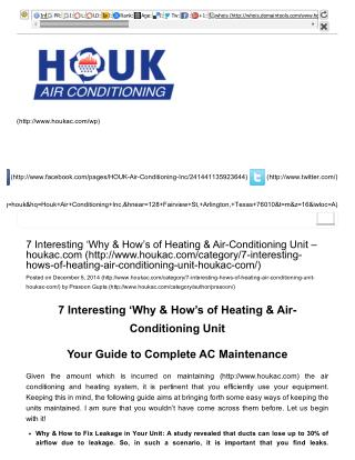 7 Interesting 'Why & How's of Heating & Air-Conditioning Unit