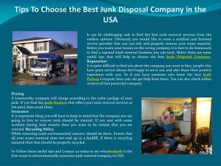 Tips To Choose the Best Junk Disposal Company in the USA