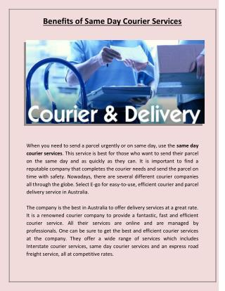 Benefits of Same Day Courier Services